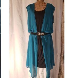 Womens Sleveeless Tank Dress w/Sheer Overlay XL